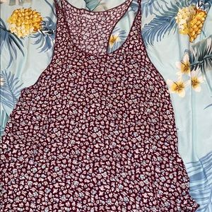 Maroon tank top with white and light blue roses